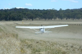 Take off from a grass field
