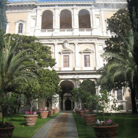 The French Embassy's garden on the Piazza Farnese