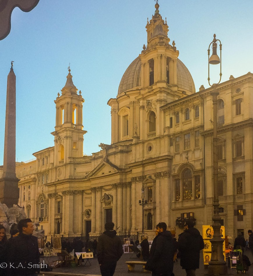 Saint Agnese church glowing in the late afternoon.