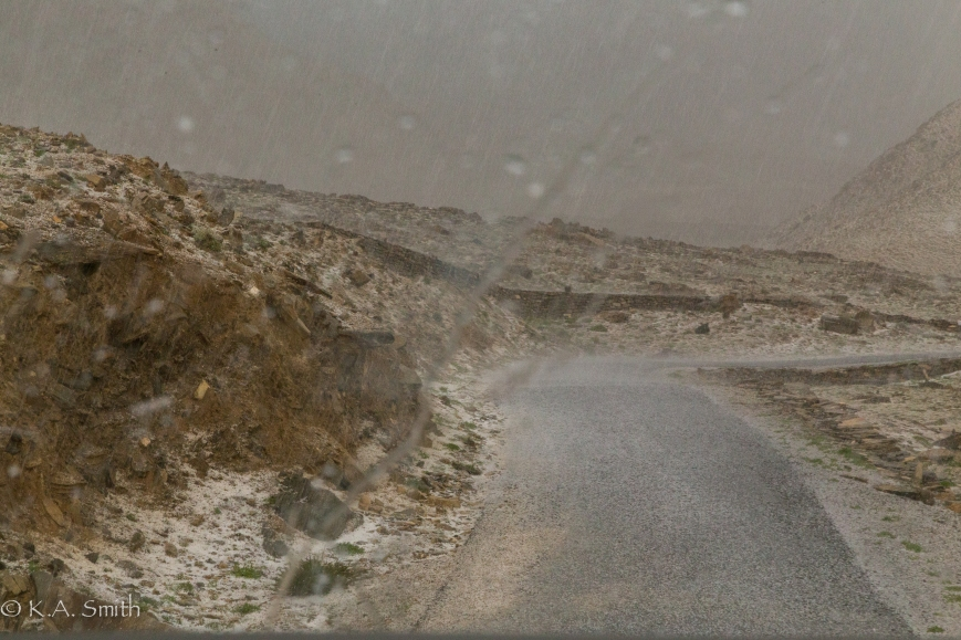 A blinding Hailstorm on our way up to a 5600 m. pass.