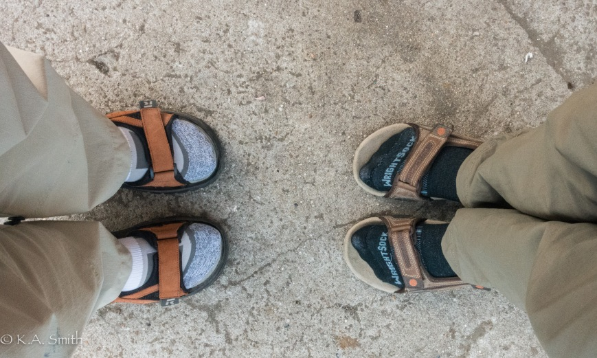 Oh the depths we have sunk to - socks and sandals! We may never be stylish again - horrors!!!!