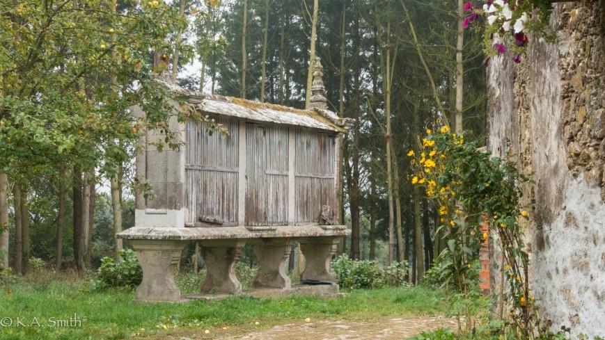 """A Spanish Corn crib called a """"Horreos""""."""
